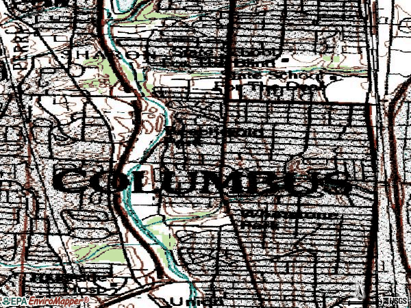 Zip code 43214 topographic map