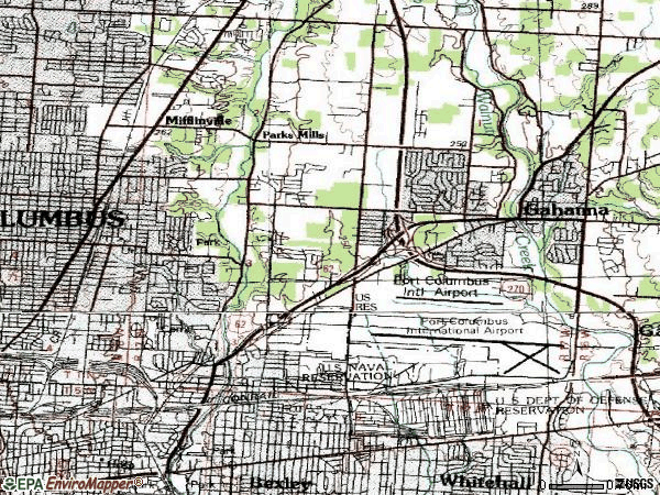 Zip code 43219 topographic map