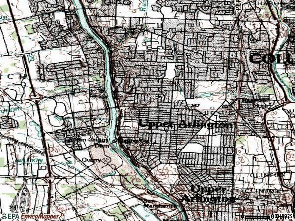 Zip code 43221 topographic map