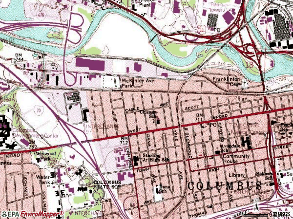 Zip code 43222 topographic map