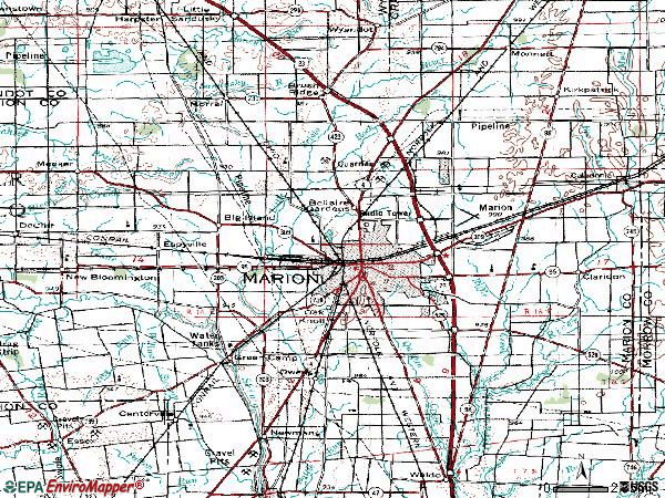 Zip code 43302 topographic map