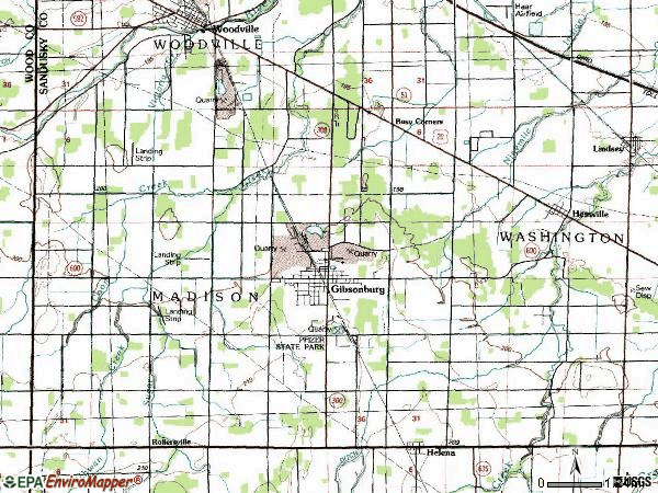 Zip code 43431 topographic map