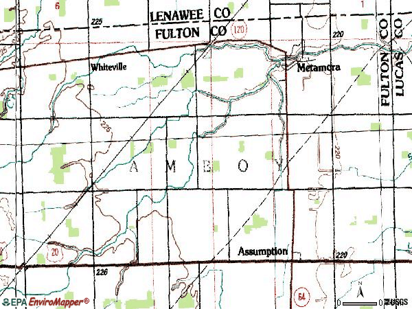 Zip code 43540 topographic map