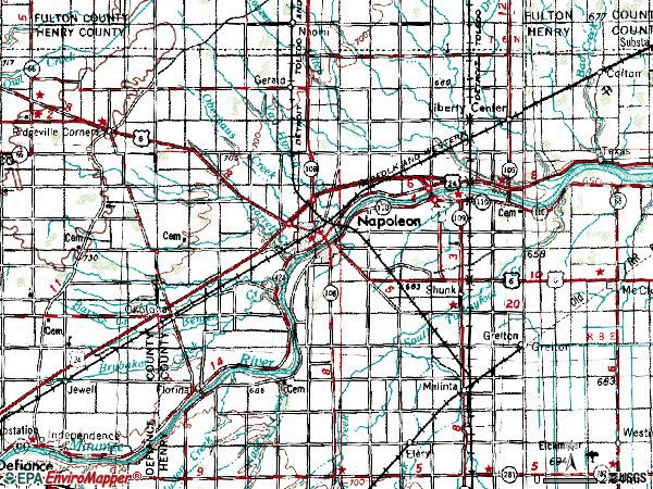 Zip code 43545 topographic map