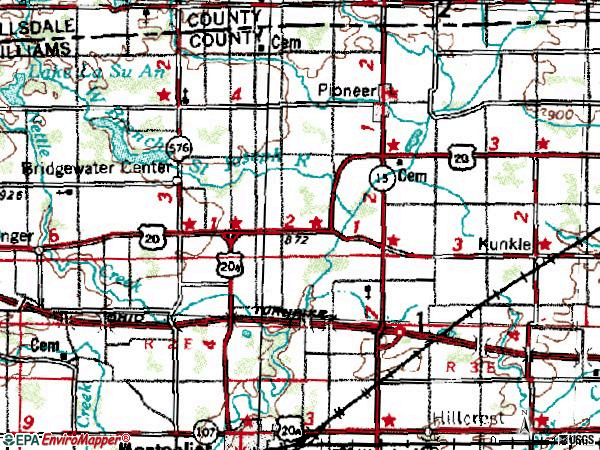 Zip code 43554 topographic map