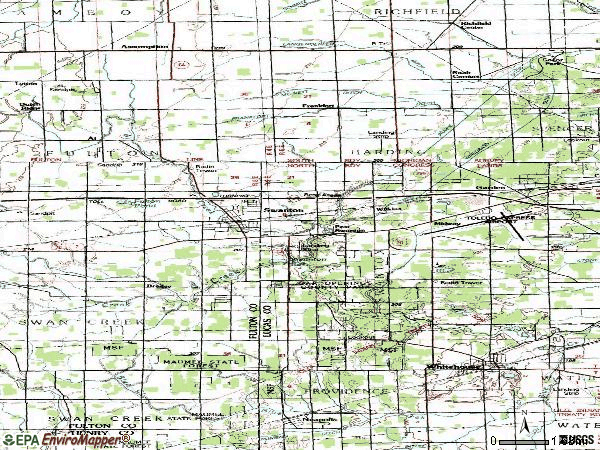 Zip code 43558 topographic map