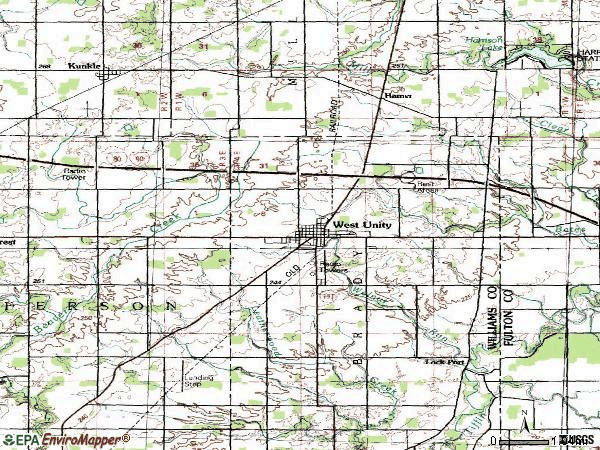 Zip code 43570 topographic map