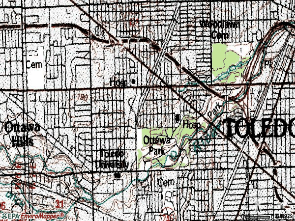 Zip code 43606 topographic map