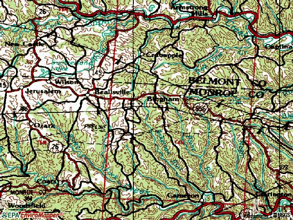 Zip code 43716 topographic map
