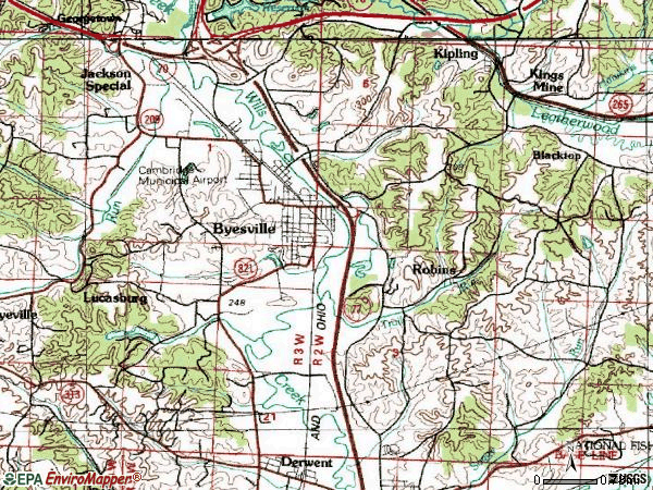Zip code 43723 topographic map