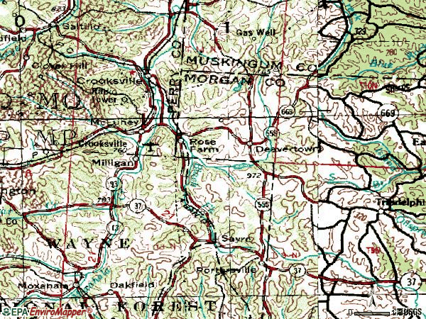 Zip code 43731 topographic map