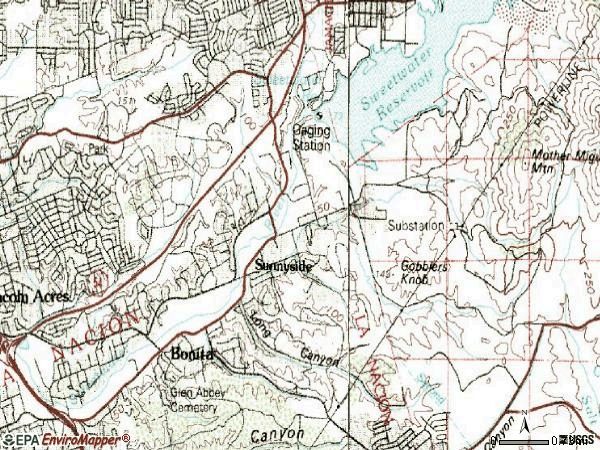 Zip code 91902 topographic map
