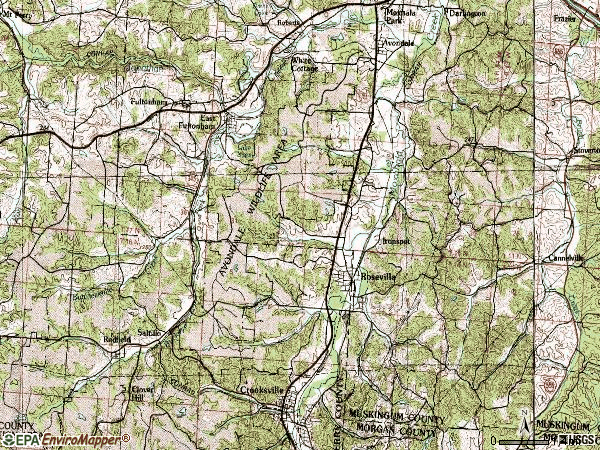 Zip code 43777 topographic map