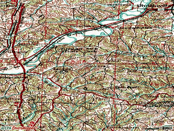 Zip code 43837 topographic map
