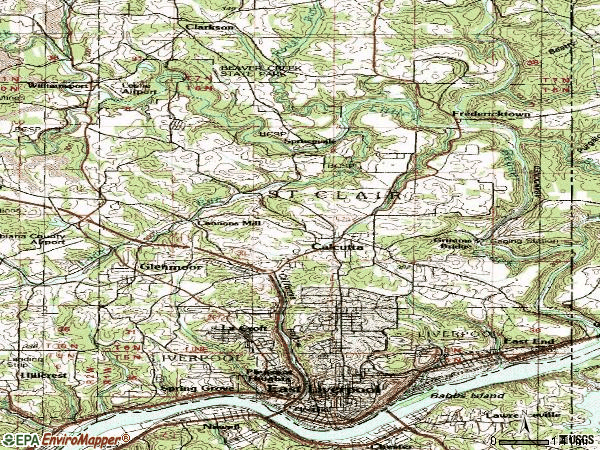 Zip code 43920 topographic map