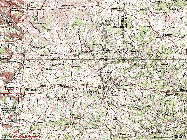 Zip code 43950 topographic map