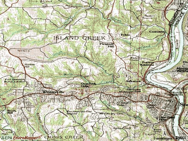 Zip code 43952 topographic map