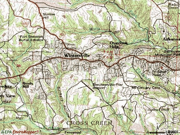Zip code 43953 topographic map
