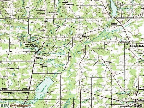 Zip code 44021 topographic map