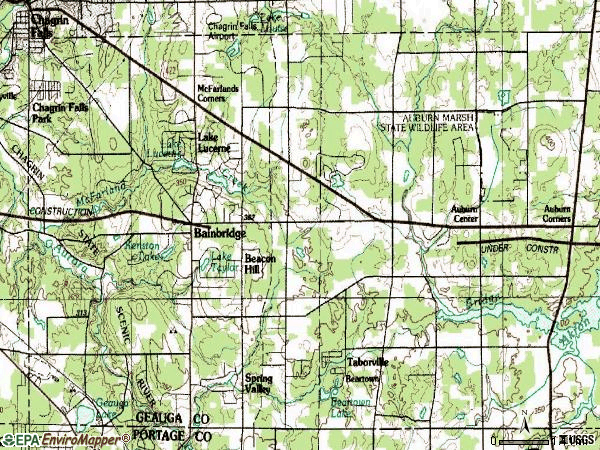 Zip code 44023 topographic map
