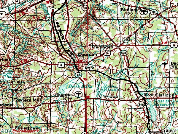 Zip code 44024 topographic map