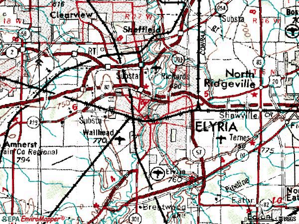 Zip code 44035 topographic map