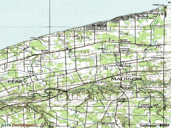 Zip code 44057 topographic map