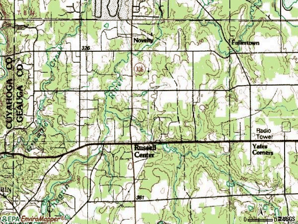 Zip code 44072 topographic map