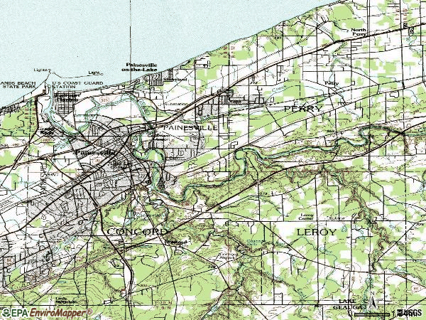 Zip code 44077 topographic map