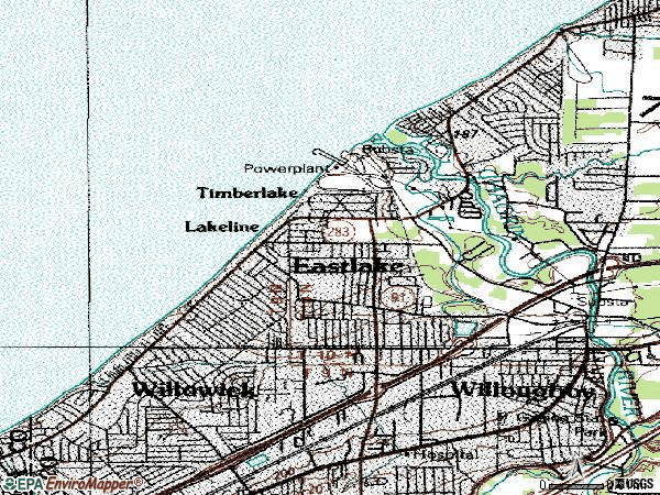 Zip code 44095 topographic map