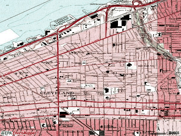 Zip code 44103 topographic map