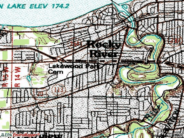 Zip code 44116 topographic map