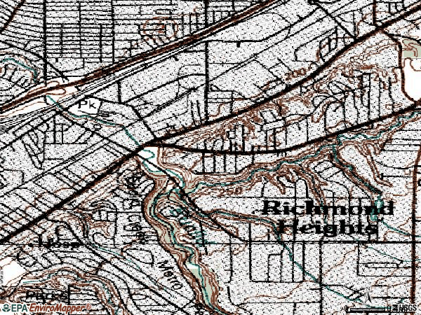 Zip code 44117 topographic map