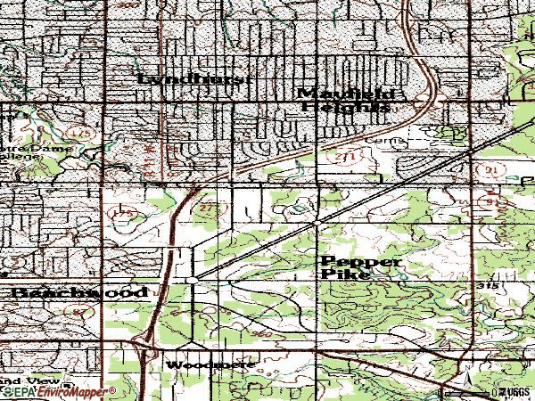 Zip code 44124 topographic map
