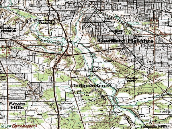 Zip code 44125 topographic map