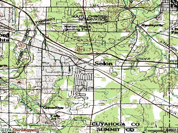 Zip code 44139 topographic map