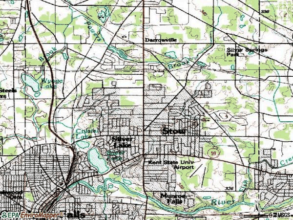 Zip code 44224 topographic map