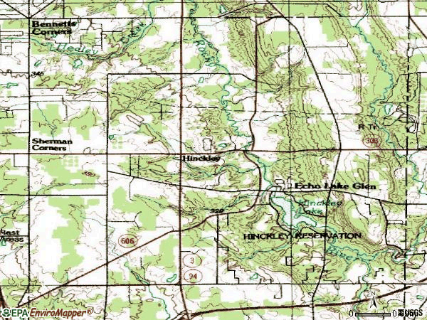 Zip code 44233 topographic map