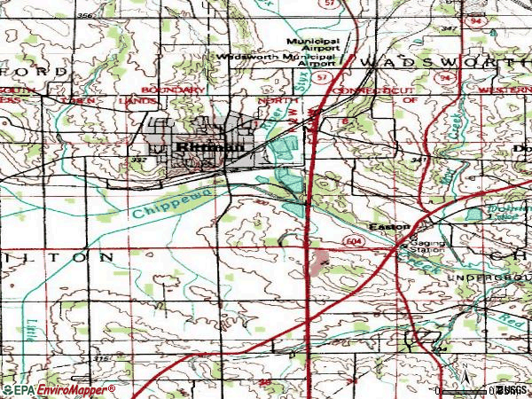 Zip code 44270 topographic map