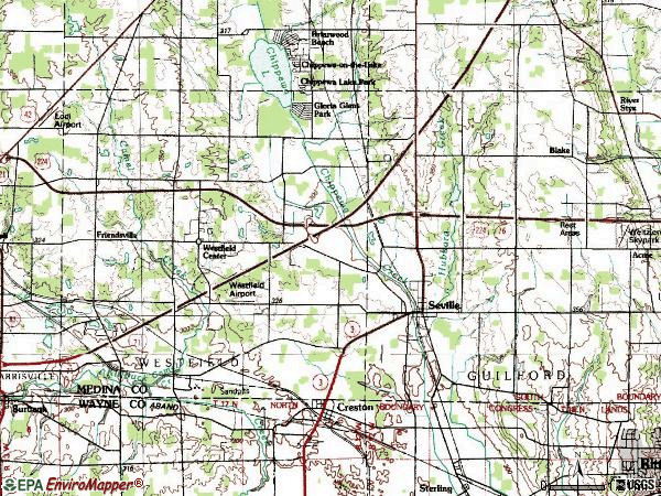 Zip code 44273 topographic map