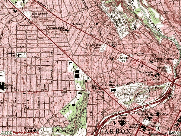Zip code 44302 topographic map