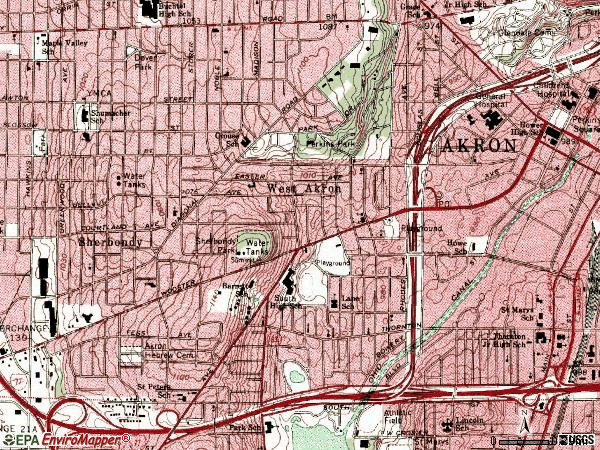 Zip code 44307 topographic map