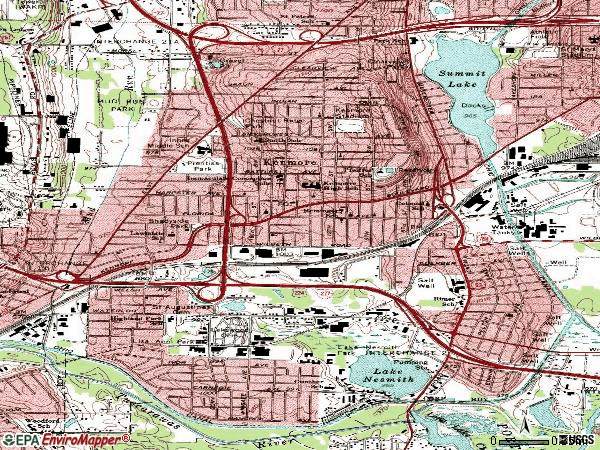 Zip code 44314 topographic map