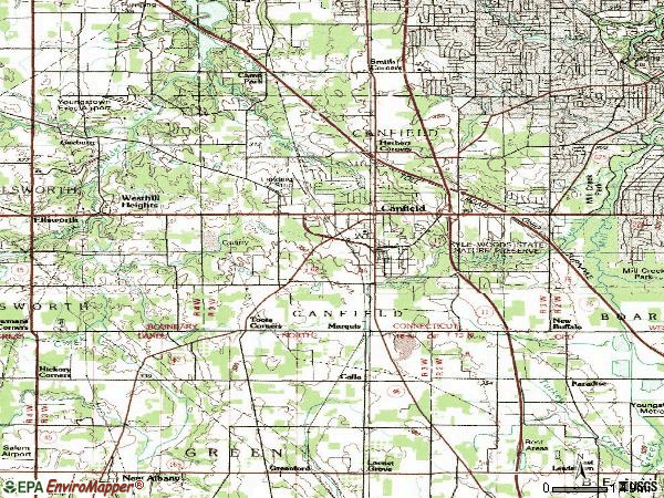 Zip code 44406 topographic map