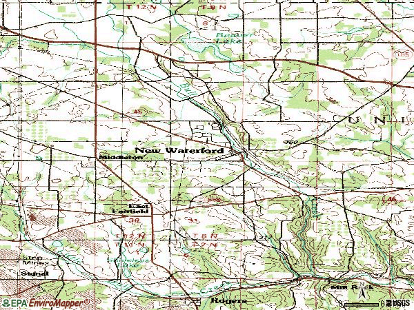 Zip code 44445 topographic map