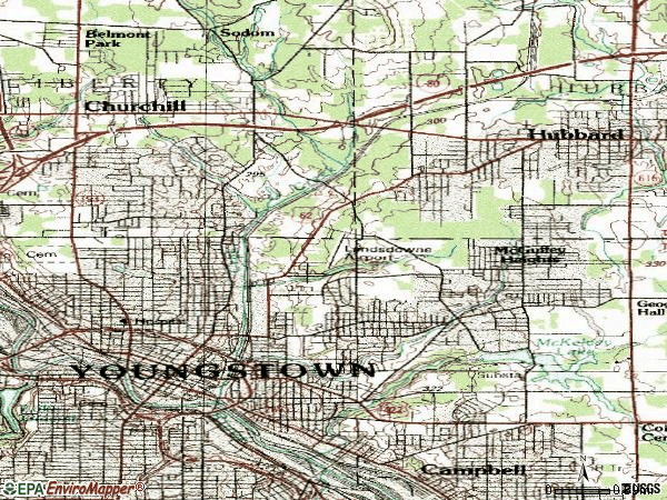 Zip code 44505 topographic map