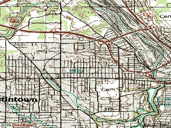Zip code 44509 topographic map