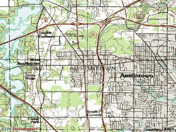 Zip code 44515 topographic map