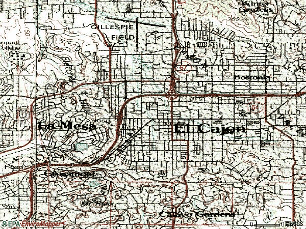 Zip code 92020 topographic map