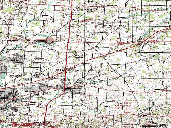 Zip code 44641 topographic map
